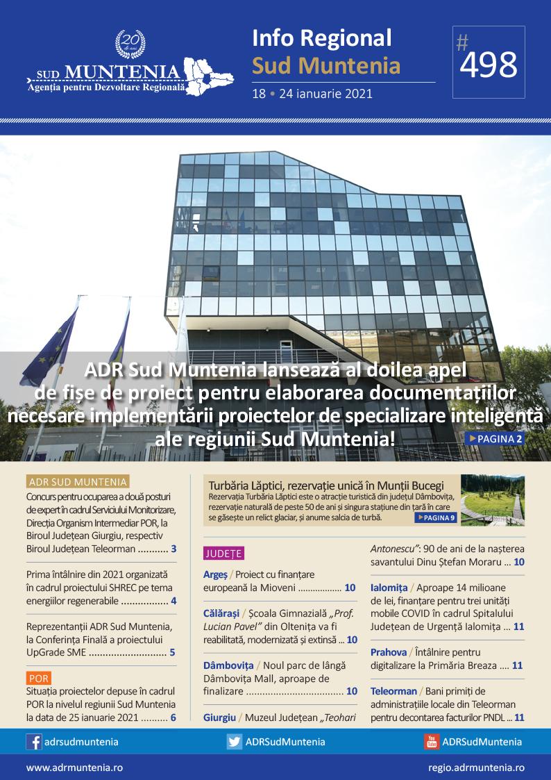 A apărut buletinul informativ Info Regional Sud Muntenia nr. 498!