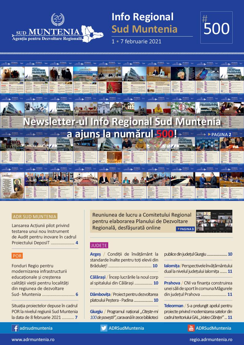 Newsletter-ul Info Regional Sud Muntenia a ajuns la numărul 500!