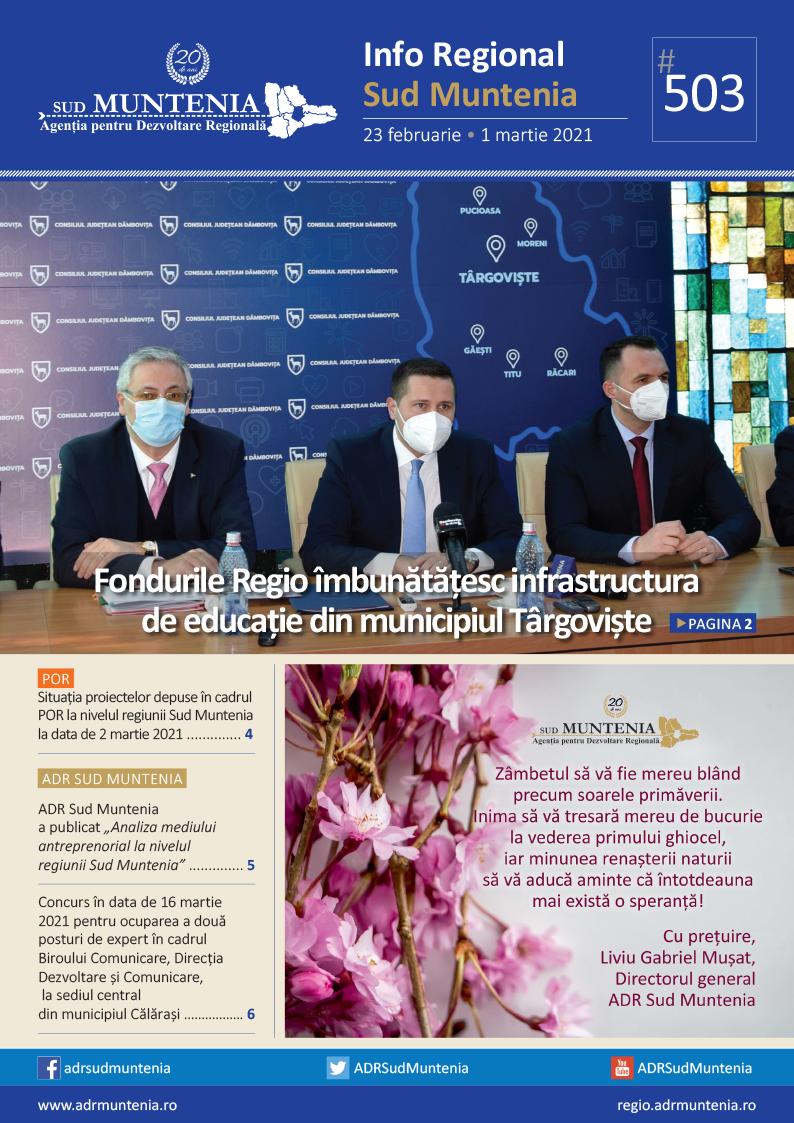 A apărut buletinul informativ Info Regional Sud Muntenia nr. 503!