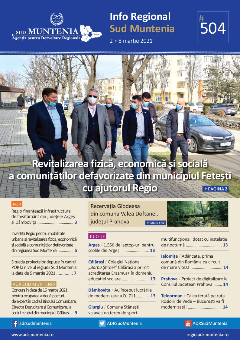 A apărut buletinul informativ Info Regional Sud Muntenia nr. 504!