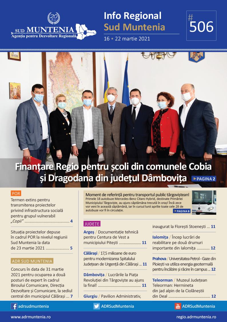 A apărut buletinul informativ Info Regional Sud Muntenia nr. 506!