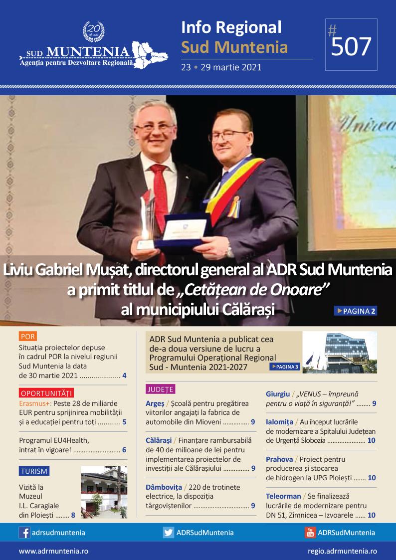 A apărut buletinul informativ Info Regional Sud Muntenia nr. 507!