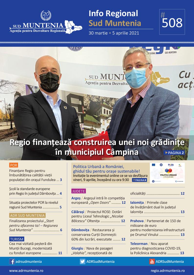 A apărut buletinul informativ Info Regional Sud Muntenia nr. 508!