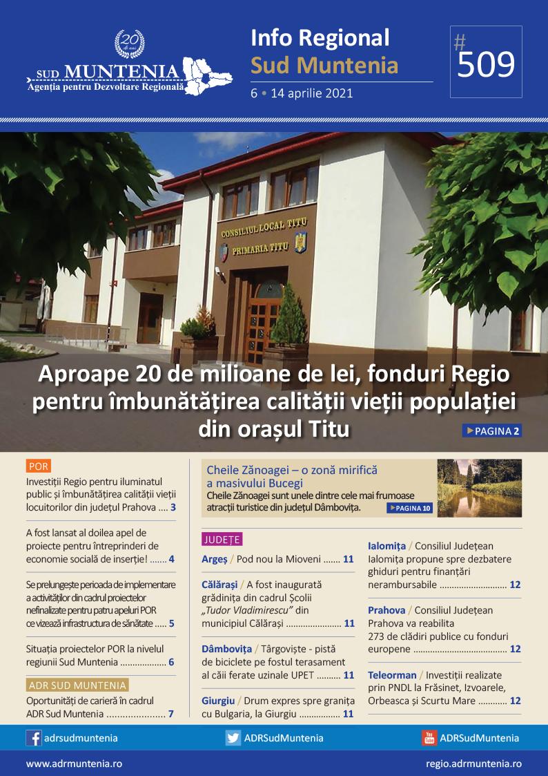 A apărut buletinul informativ Info Regional Sud Muntenia nr. 509!