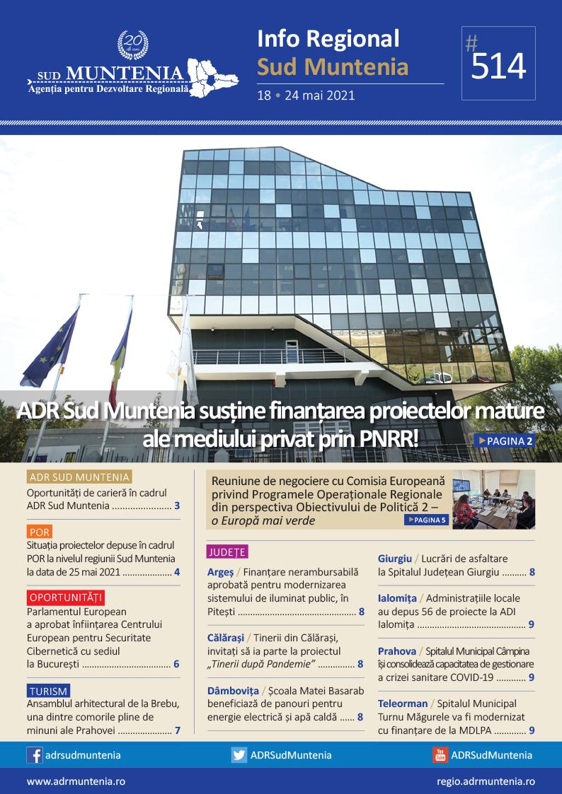 A apărut buletinul informativ Info Regional Sud Muntenia nr. 514!