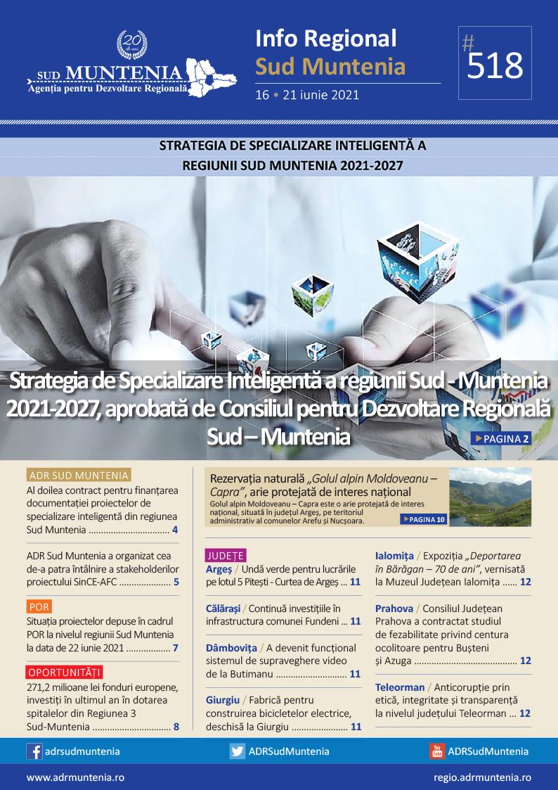A apărut buletinul informativ Info Regional Sud Muntenia nr. 518!