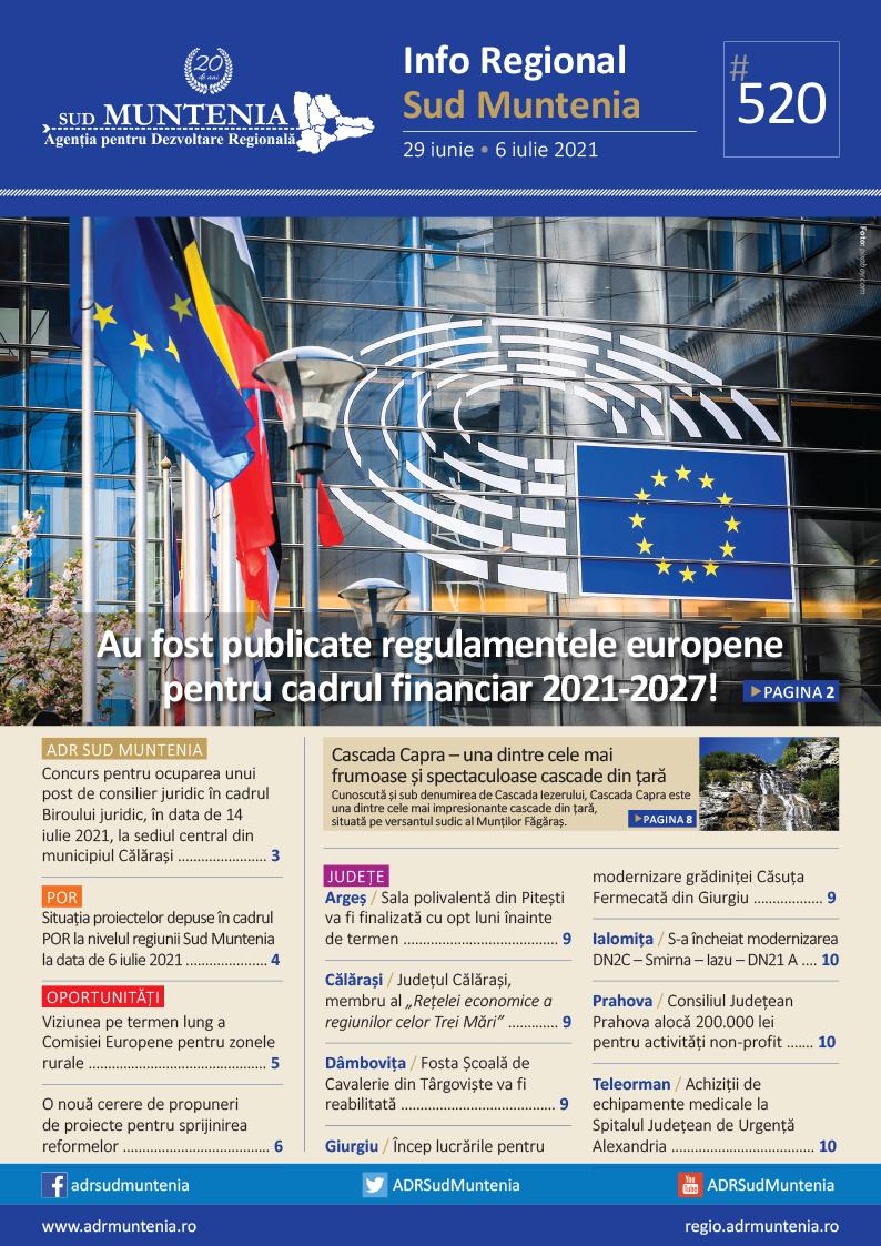 A apărut buletinul informativ Info Regional Sud Muntenia nr. 520!