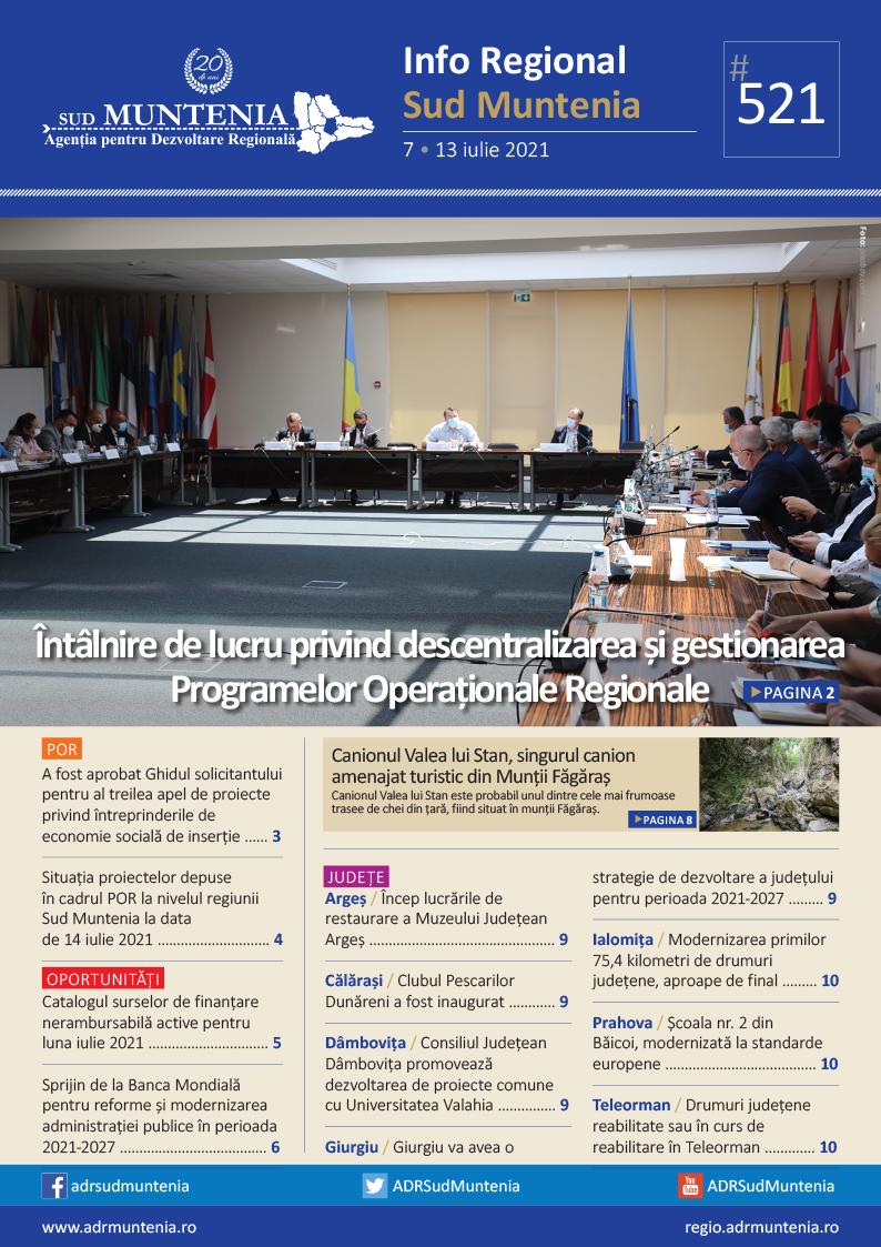 A apărut buletinul informativ Info Regional Sud Muntenia nr. 521!