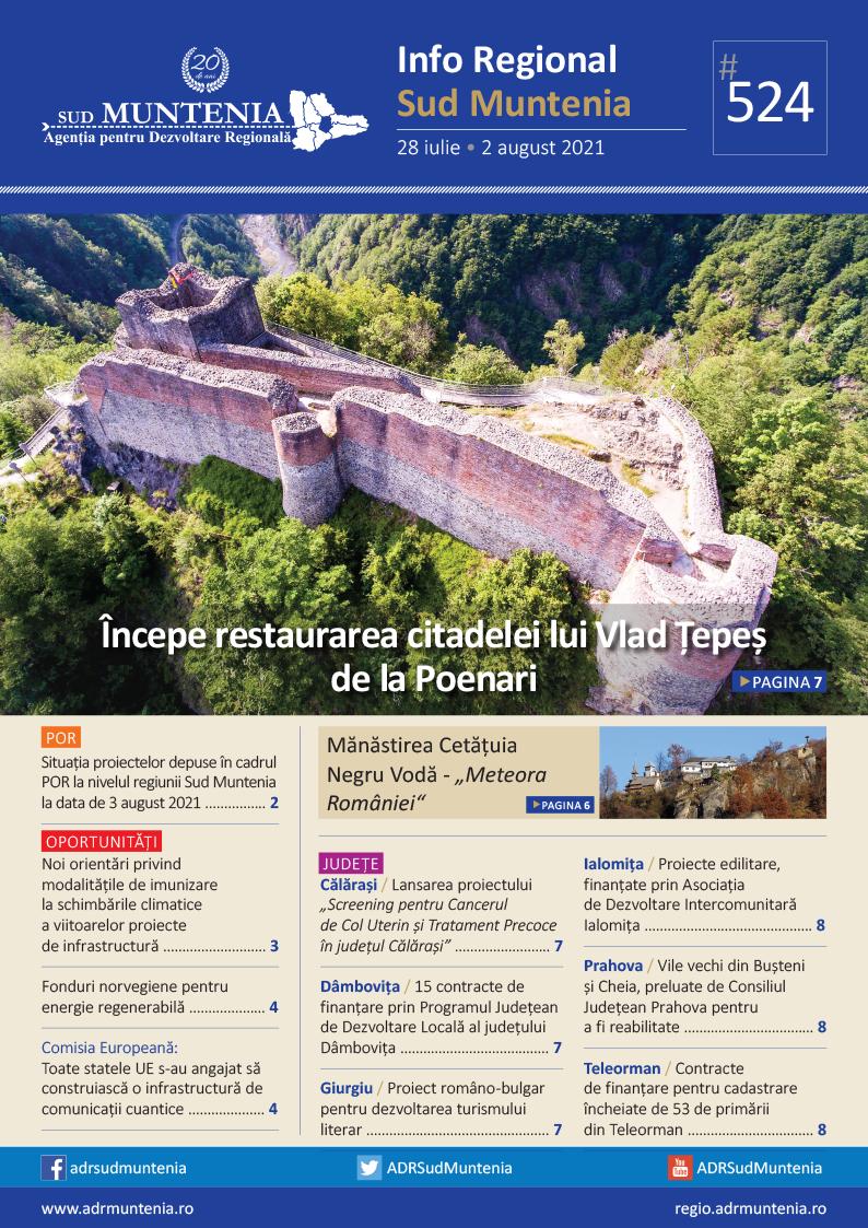 A apărut buletinul informativ Info Regional Sud Muntenia nr. 524!