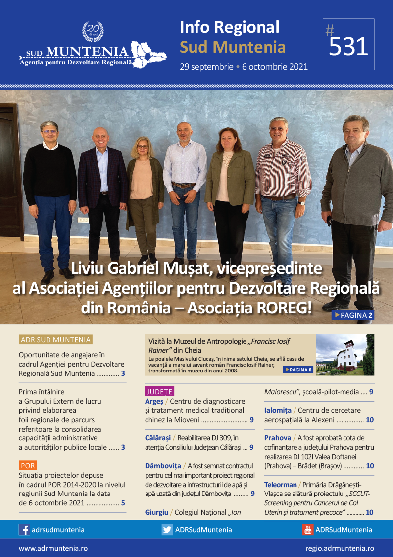 A apărut buletinul informativ Info Regional Sud Muntenia nr. 531!