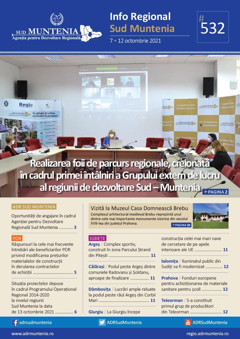 A apărut buletinul informativ Info Regional Sud Muntenia nr. 532!