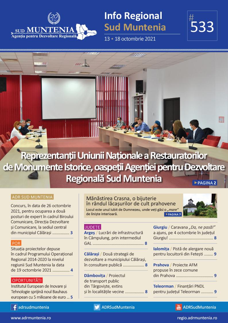 A apărut buletinul informativ Info Regional Sud Muntenia nr. 533!